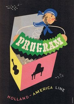 "Program of activities for Holland America Line's ""Nieuw Amsterdam"" in 1952, via Bonito Club"