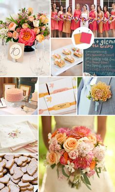 wedding color combination: orange and pink (or cantaloupe and grapefruit, according to the Knot)
