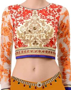Cream Ready made Embroidered Indian Blouse Full Sleeves Blouse Designs, Indian Blouse, Bikinis, Swimwear, Crop Tops, Cream, Women, Fashion, Cropped Tops