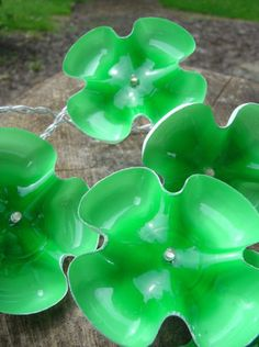 Recycled Plastic Bottle bottoms for twinkle lights