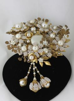 Vintage Miriam Haskell Baroque Seed Pearl Brooch Large 5 5inches | eBay