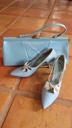 Mid Century Handbag Shoes Set Powder Blue By Suzypoodlevintage
