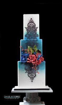 Super cool mehndi inspired royal blue wedding cake