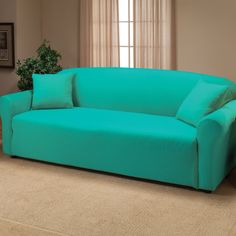 madison home stretch jersey sofa slipcover in aqua i just bought this and the loveseat size for the basement redo maybe take some fabric paint and stamp a