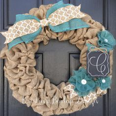Hey, I found this really awesome Etsy listing at https://www.etsy.com/listing/266257552/teal-monogram-burlap-wreath-burlap