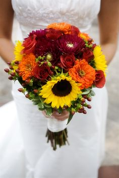 Sunflower and dahlia wedding bouquet. Photo credit: Klose Photography