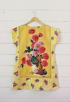 0368ac7c5e Upcycled Linen Tea Towel Tunic Women Yellow Lemon Chrysanthemums Dots  Floral Daisy Retro Medium Cotton Australian Made