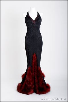 """30ies inspired gown """"Rouge et Noir""""- Glamorous fishtail gown, inspired by evening fashion of the 30ies.  The gown is made from soft black jacquard, trimmed with high quality faux fur. It features a backless cut with an interesting strap design. The decolleté is trimmed with piping and embellished with dark red Swarovski crystals."""