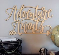 Adventure Awaits Wall Art - Quote out of Wood - Word Sign — Woodword Design Studio Kids Room Wall Art, Nursery Wall Art, Nursery Decor, Room Decor, Nursery Room, Dorm Room, Wooden Letters, Wooden Signs, Into The Woods Quotes