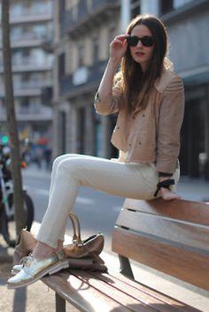 tan jacket, white pants, silver shoes