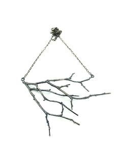 Sterling Silver Branch Necklace Twig Pendant by SashaWalshDesigns