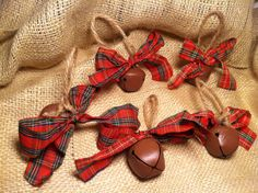 5 Rusty, Rustic Christmas Sleigh Jingle bell Ornaments with red Plaid Bows to Decorate a Holiday Wreath or Tree