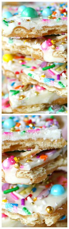 White Chocolate Rainbow Sprinkle Toffee ~ Easy and yummy... Layers of Saltine crackers, butter and brown sugar, covered with white chocolate and topped with rainbow sprinkles.