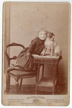CDV Young Girl with Pug Dog by Russell Sons Cute Image | eBay