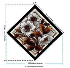 Stained Glass Diagonal Panel, Floral, Decorative, hand painted, Victorian Style, Leaded, Hangable, Ref: Floral Panel