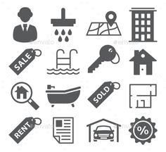 Real Estate Icons by ihorzigor Real Estate Icons. Editable EPS and Render in JPG format.