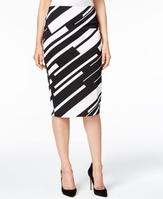 Grace Elements Striped Pencil Skirt