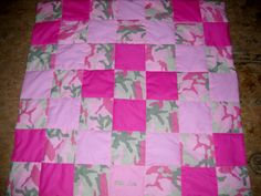 Handmade Pink Camo Baby Girl Quilt (Personalized Embroidered Name FREE). $20.00, via Etsy.