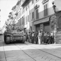 Allied tank in Via de' Serragli, late 1944