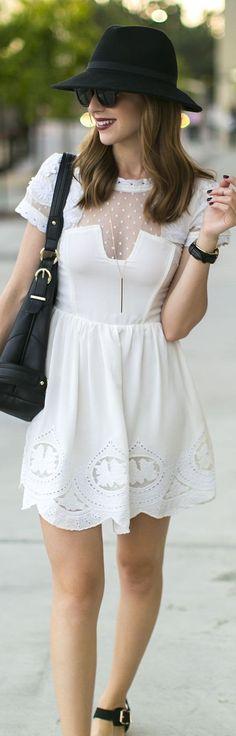 Love Always White Embellished Neckline Embroidered Scalloped Hem Little Dress