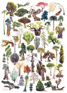 """erysium: """"50 trees I painted one weekend, and a few tiny animations I made yesterday! """""""