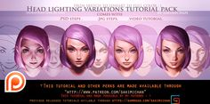 Face Lighting Variation steps tutorial pack.promo. by sakimichan