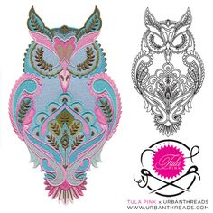 Machine embroidery by Tula Pink and Urban Threads Owl Embroidery, Embroidery Blanks, Free Motion Embroidery, Machine Embroidery Projects, Free Machine Embroidery Designs, Urban Threads, Pink Owl, Couture, Paisley Pattern