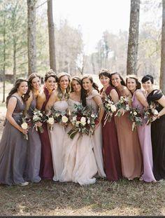 Earth tones bridesmaids winter dresses