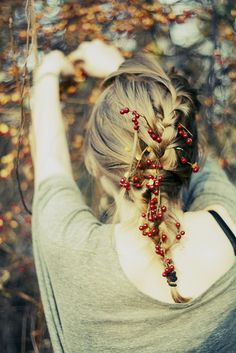 Ok, not quite like this. But, adding these sprigs in braided hair or some kind of up do would be beautiful.