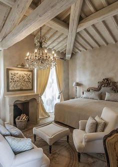 French Country Interiors, French Country House, Home Bedroom, Bedroom Decor, Decoration Inspiration, French Decor, Beautiful Bedrooms, New Homes, House Design