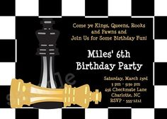Chess Birthday Invitation, Chessboard Birthday Invitation,Checkmate Party Invitation,Party Supplies,Party Decorations www.cutiepatootiecreations.com  Cutie Patootie Creations