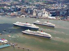 The Three Queens pass the Liver building, Liverpool May 2015.