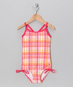 Take a look at this Pink Plaid One-Piece - Infant, Toddler & Girls by Kanu Surf on #zulily today!