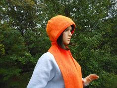 Pumpkin Hand Knit Hooded Scarf | Cathy Creates - Handmade knit and crochet accessories and apparel