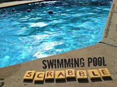 """Supplies Needed: sponges, scissors, permanent marker    Cut sponges in half.  Write letters on each sponge.  Throw the """"scrabble sponges"""" in the pool, then swim to collect all of the pieces.  Once collected - play an age appropriate game of scrabble  - see how many simple words could be form using the letters collected.  Throw them back in and start over again."""