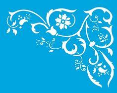 Stencil Cantoneira Arabesco Floral 17 x 21cm - STM 163 Litoarte - Stencil 17 x 21cm - Stencil ou molde vazado - Empório Janial