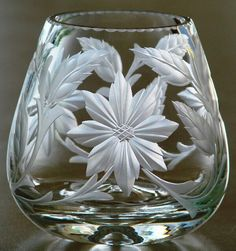 Brandy* Hand Engraved Crystal by Catherine Miller of Catherine Miller Designs.* Technique- Stone wheels