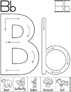 Alphabet Letter B Worksheet | Preschool Printable Activity | Standard Block Font: