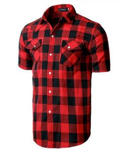 79cfece84aed96 Black and white plaid button up shirt for men short sleeve tee shirt Black  Plaid Shirt