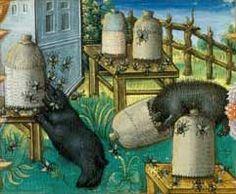 Deux ours et des ruches. Enluminure.