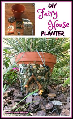 Here's how to make a sweetly whimsical DIY fairy house planter from a terra cotta pot & other inexpensive items. It's really easy, so why not give it a try? Whimsical DIY Fairy House Planter October 2017 by Pam Hoepner Fairy Garden Pots, Fairy Garden Houses, Diy Fairy House, Fairy Gardening, Fairies Garden, Flower Gardening, Fruit Garden, Garden Bed, Clay Flower Pots