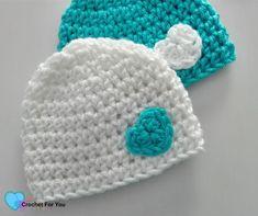 Little Heart Crochet Preemie Hat - free crochet pattern Crochet Preemie Hats, Crochet Baby Hats Free Pattern, Crochet Baby Beanie, Crochet Flower Patterns, Newborn Crochet, Free Crochet, Kids Crochet, Crochet Flowers, Crochet Poppy
