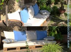 Cojines para sofá de palet. Fundas colección Santorini, de Revert.