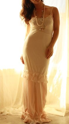 Vintage Love Affair-  Vintage Slip Wedding Gown Eco Bride