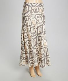 Another great find on #zulily! Gray & Cream Tribal Maxi Skirt - Women #zulilyfinds