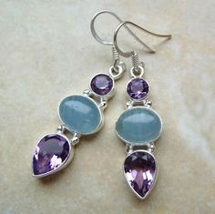 Sterling silver aquamarine amethyst earrings