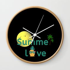 Summer Love Pineapple Palm Trees Wall Clock Home Decoration Ideas Pineapple Palm Tree, Interior And Exterior, Interior Design, Cute Paintings, Invite Your Friends, Tree Wall, Inspire Others, Inspirational Gifts, Summer Of Love