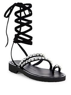 Giuseppe Zanotti - Crystal-Embellished Suede Lace-Up Sandals