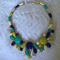 Banana Republic Statement Necklace Fun statement necklace. Gold color with teal, royal blue, lime and cream. Adds a great pop of color to any outfit! Banana Republic Jewelry Necklaces