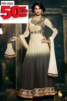 Get the royal charm with new designs and pattern cream color georgette full length anarkali dress. Paired this suit with traditional ornaments and jewels. #salwarsuit, #anarkalidress more: http://www.pavitraa.in/catalogs/latest-designer-salwar-kameez-and-dresses-collection/